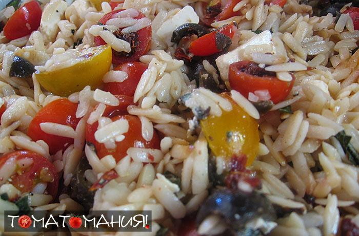 Теплый греческий салат с рисом рецепт