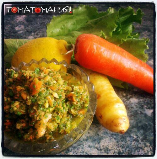 Салат с двумя морковками: желтая и красная морковь
