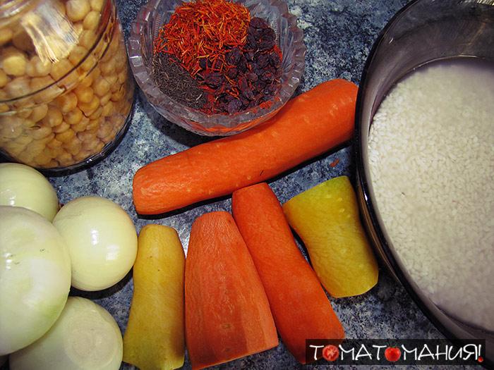 Вегетарианский плов с сушеными томатами и нутом