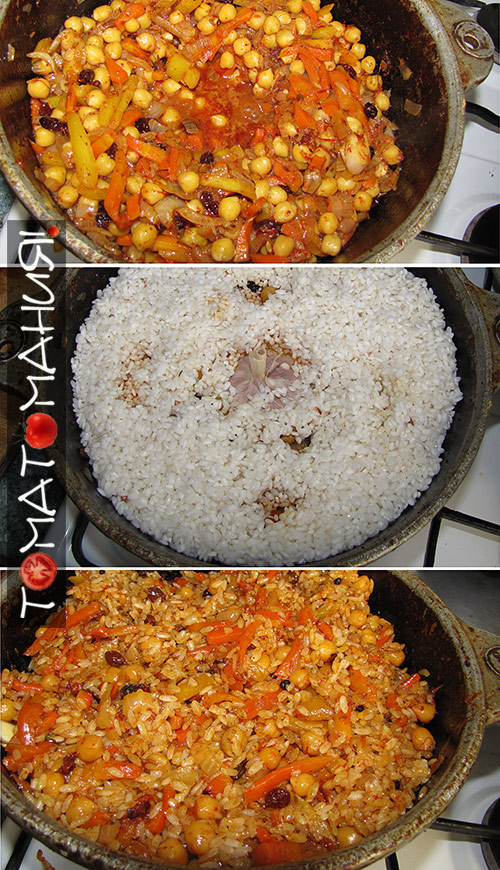 Вегетарианский плов с сушеными томатами рис и чеснок